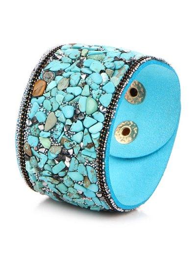 Natural Stone Faux Leather Bracelet - WINDSOR BLUE  Mobile