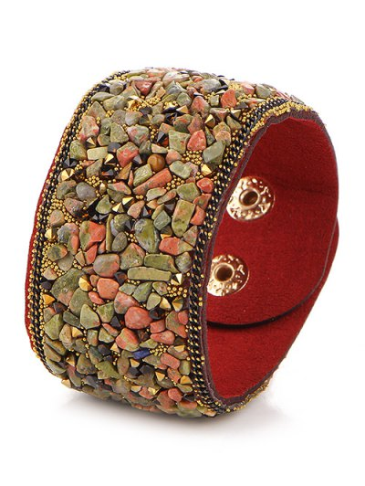 Natural Stone Faux Leather Bracelet - DARK RED  Mobile