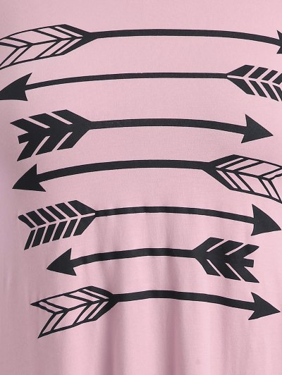 Arrow Pattern Irregular Hem Tee - PINK 4XL Mobile