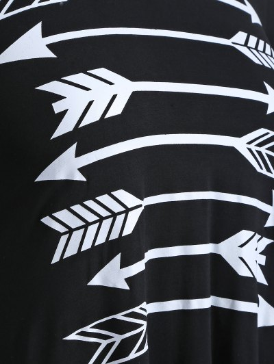 Arrow Pattern Irregular Hem Tee - BLACK 4XL Mobile