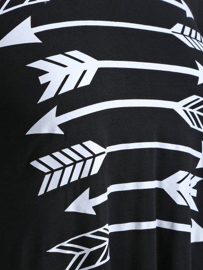 Arrow Pattern Irregular Hem Tee - BLACK 3XL Mobile