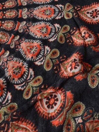 Floral Pattern Fringe Square Scarf - BLACK  Mobile
