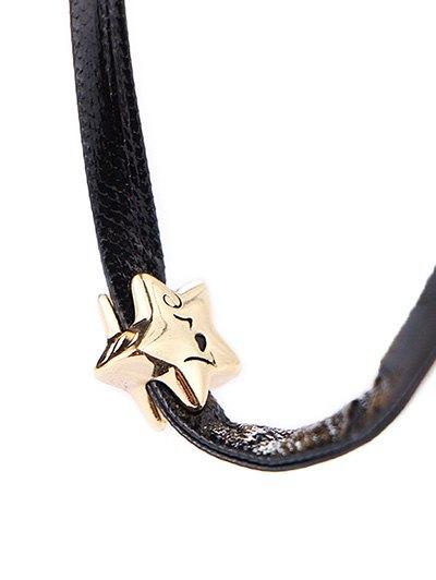 Star Engraved Love Choker Necklace - BLACK  Mobile