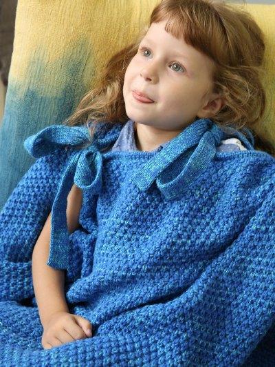 Sleeping Bag Knitted Mermaid Blanket - BLUE  Mobile