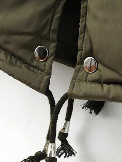 Drawstring Zip-Up Puffer Coat - GREEN M Mobile