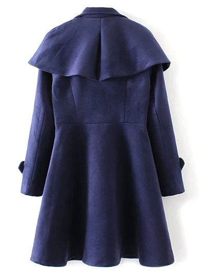 Double Breasted Skirted Cape Coat - DEEP BLUE L Mobile