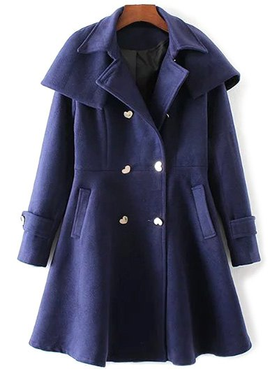 Double Breasted Skirted Cape Coat - DEEP BLUE S Mobile