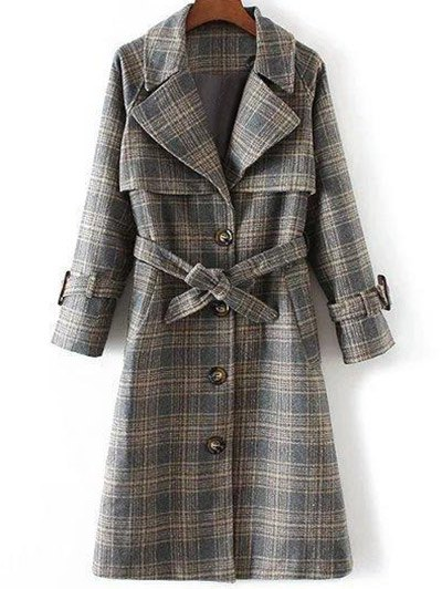 Single Breasted Checked Coat - GRAY M Mobile