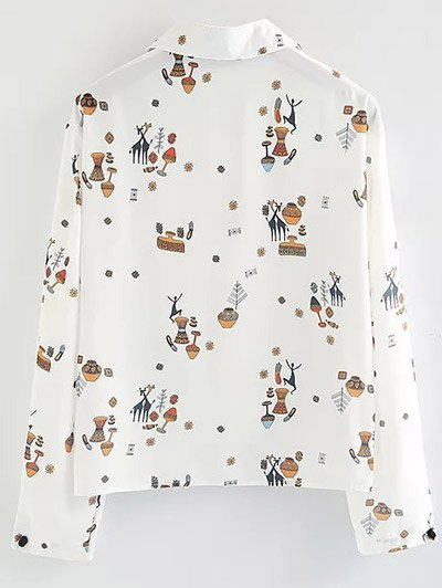 Cartoon Print Shirt - WHITE L Mobile