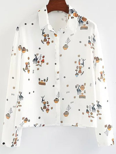 Cartoon Print Shirt - WHITE S Mobile