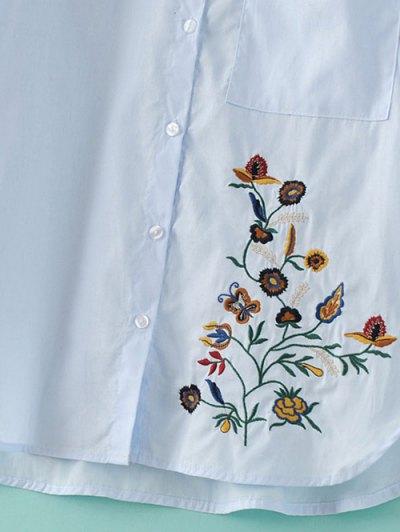 Loose Floral Shirt - LIGHT BLUE M Mobile
