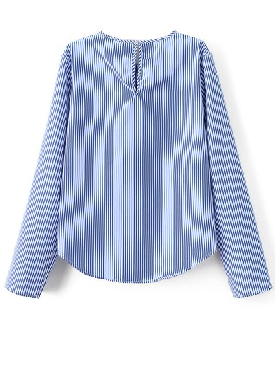 Stripe Embroidered Blouse - BLUE L Mobile