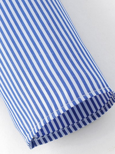 Stripe Embroidered Blouse - BLUE M Mobile