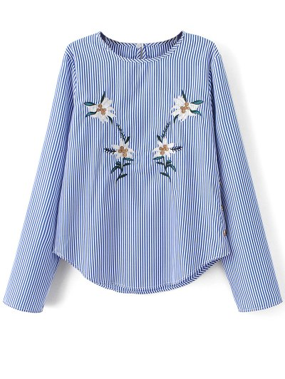 Stripe Embroidered Blouse - BLUE S Mobile