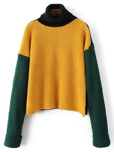 Turtleneck Chunky Sweater - YELLOW ONE SIZE Mobile