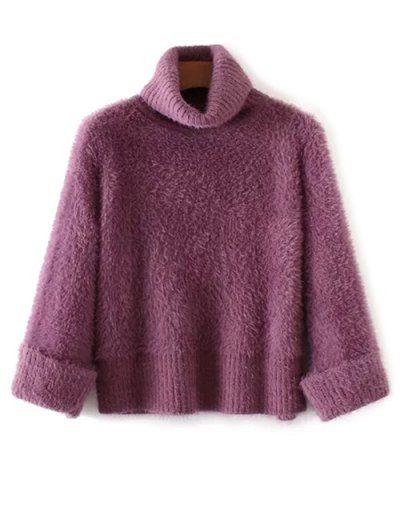 Fuzzy Turtleneck Sweater - PURPLE ONE SIZE Mobile