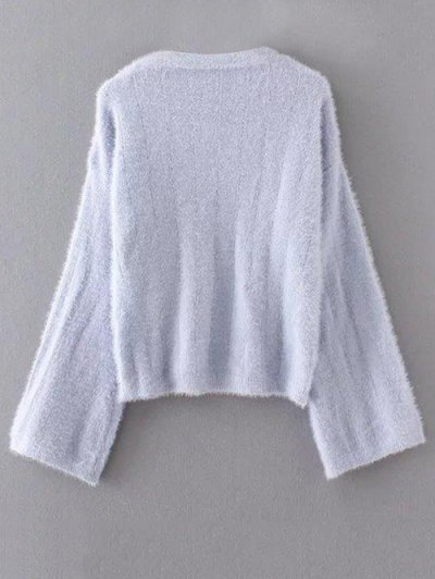 Oversized Fuzzy Sweater - GRAY ONE SIZE Mobile