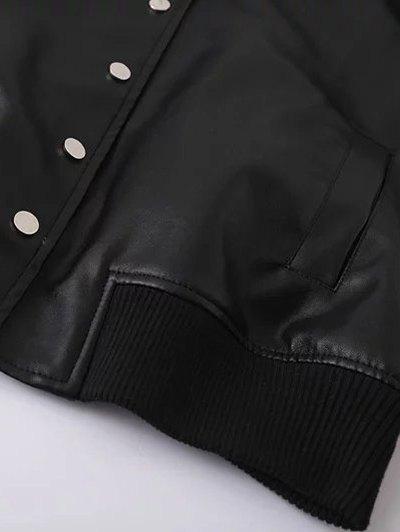 PU Panel Baseball Jacket - BLACK L Mobile