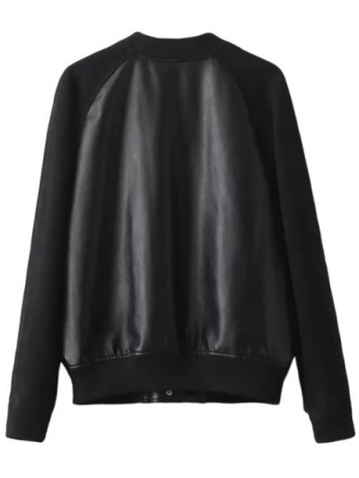 PU Panel Baseball Jacket - BLACK S Mobile