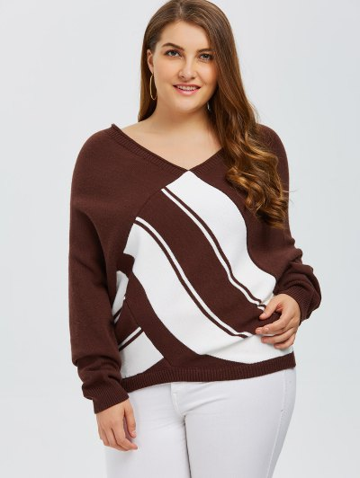 Color Block Plus Size V Neck Sweater - COFFEE 5XL Mobile