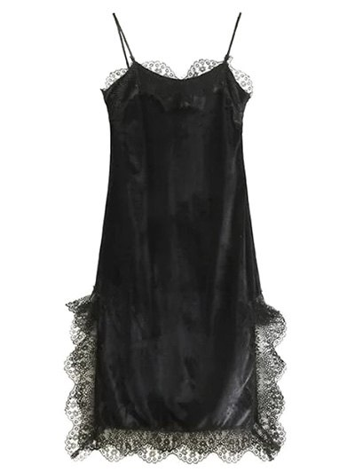 Lace Panel Scalloped A-Line Dress - BLACK S Mobile