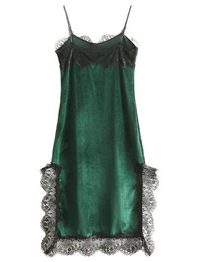 Lace Panel Scalloped A-Line Dress - GREEN L Mobile