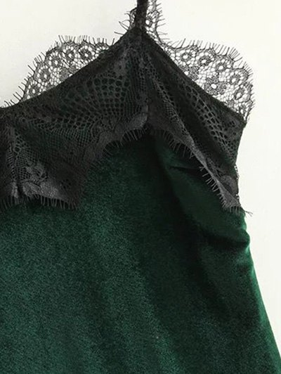 Lace Panel Scalloped A-Line Dress - GREEN M Mobile