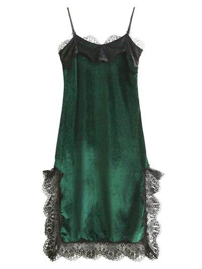 Lace Panel Scalloped A-Line Dress - Green