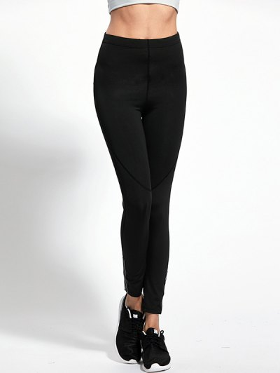 High Waist Skinny Yoga Leggings - BLACK XL Mobile