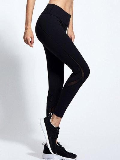 High Waist Mesh Panel Tight Yoga Leggings - BLACK M Mobile