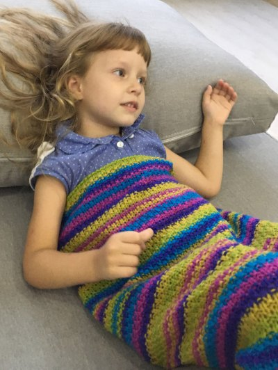 Stripe Knitted Mermaid Blanket - COLORMIX  Mobile