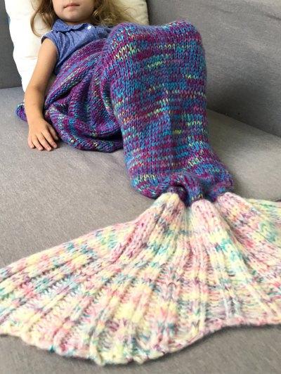 Knitted Sofa Kids Mermaid Blanket - PURPLE M Mobile