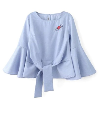Embroidered Flare Sleeve Blouse - BLUE L Mobile