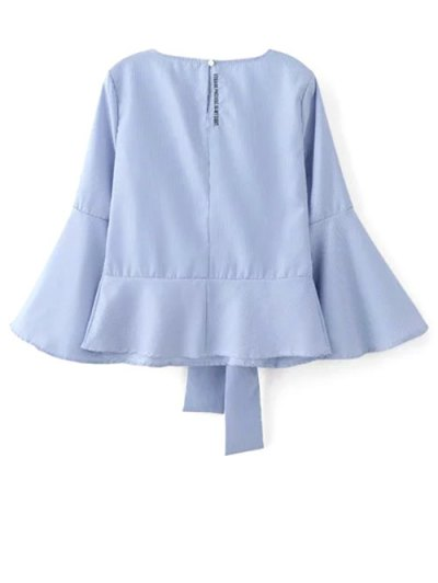 Embroidered Flare Sleeve Blouse - BLUE S Mobile