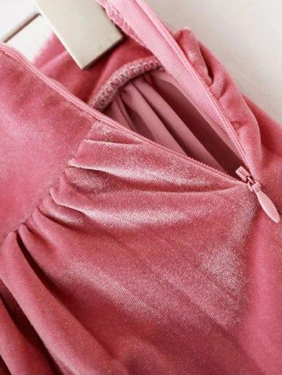 Velour Pleated Skirt - LIGHT PINK M Mobile