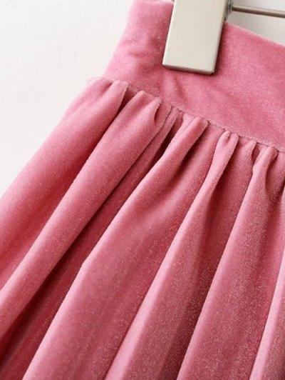 Velour Pleated Skirt - LIGHT PINK S Mobile