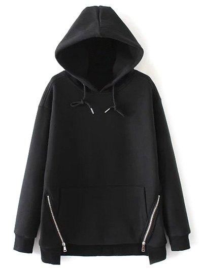 String Zippered Hoodie - BLACK L Mobile