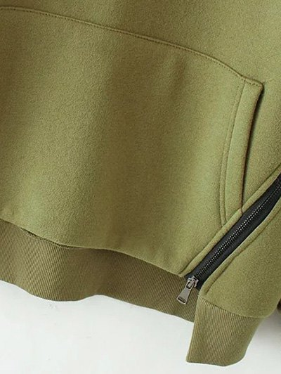String Zippered Hoodie - ARMY GREEN M Mobile