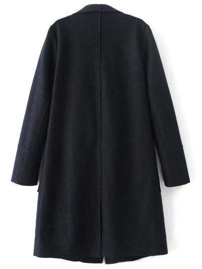 Turndown Collar Woolen Blend Coat - CADETBLUE L Mobile