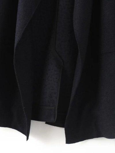 Turndown Collar Woolen Blend Coat - CADETBLUE XS Mobile