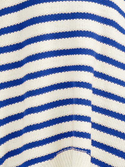 Striped Oversized High Low Sweater - BLUE 2XL Mobile