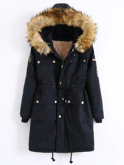 Patch Hooded Parka Coat - BLACK XL Mobile