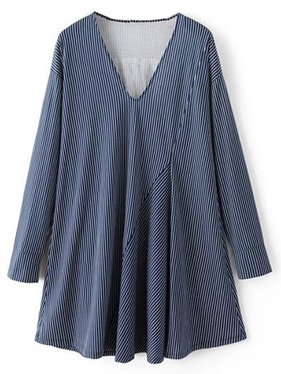 Letter Striped Long Sleeve Dress - BLUE L Mobile
