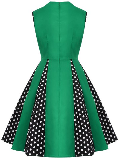 Vintage Sleeveless Polka Dot Dress - GREEN 3XL Mobile