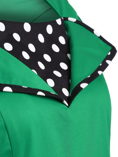 Vintage Sleeveless Polka Dot Dress - GREEN 2XL Mobile