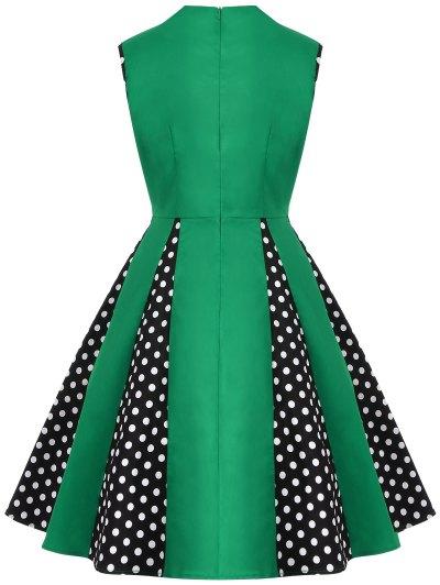 Vintage Sleeveless Polka Dot Dress - GREEN XL Mobile