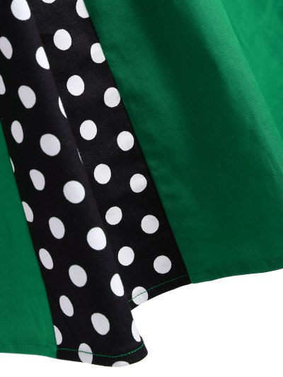 Vintage Sleeveless Polka Dot Dress - GREEN L Mobile