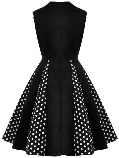 Vintage Sleeveless Polka Dot Dress - BLACK 4XL Mobile