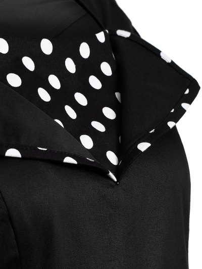 Vintage Sleeveless Polka Dot Dress - BLACK L Mobile