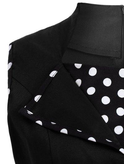 Vintage Sleeveless Polka Dot Dress - BLACK S Mobile